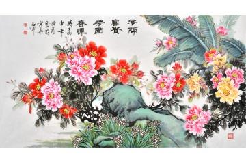 國禮書畫家石開最新六尺牡丹《花開富貴 芳園春暉》