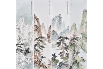 山水画四条屏 王宁国画作品《春夏秋冬》