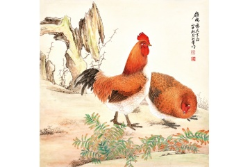 羽墨工笔斗方动物画