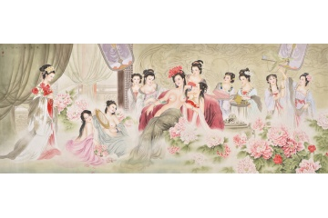 古代美女出浴图 王一容经典工笔人物画《沐春图》