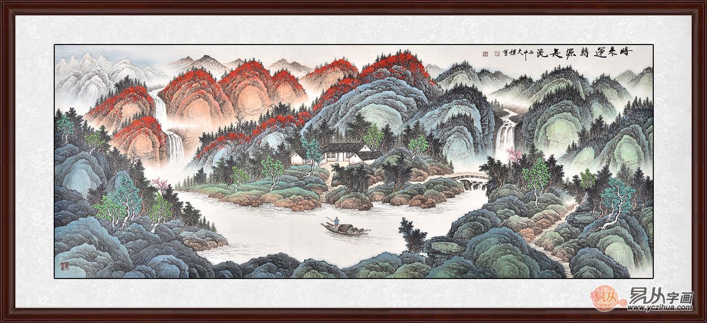 客厅聚宝盆山水画的选择,画面上以绿树红花点缀,给人一种满园春色