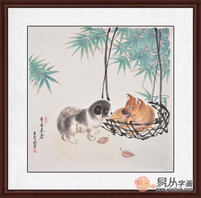 餐厅卧室装饰画 羽墨斗方工笔动物画