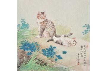 羽墨斗方工笔动物画《花荫闲卧图》