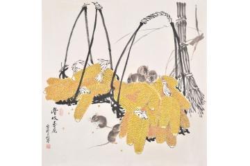 五鼠庆丰收 羽墨斗方工笔动物画《丰收喜庆》