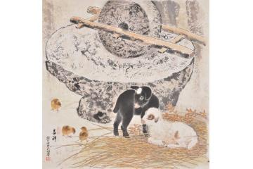 羽墨斗方工笔动物画《吉祥》