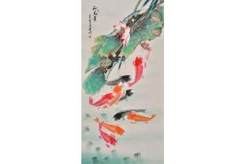 經典玄關掛畫 羽墨招財九魚圖《和為貴》