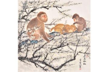 国画猴子 羽墨斗方工笔动物画《春意融融》
