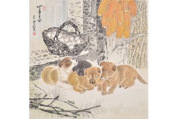 羽墨斗方工笔动物画《四季平安