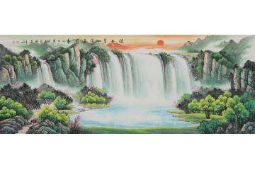 刘燕姣风水画聚宝盆《绿水青山源远流长》