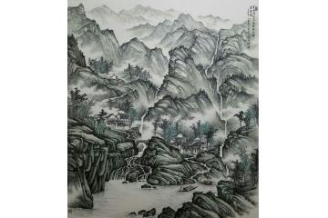 吴大恺精品焦墨山水画作品《飞泉隔山又一山》