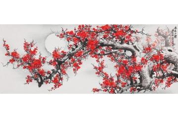 李林宏六尺横幅花鸟画梅花图《冰清玉洁》