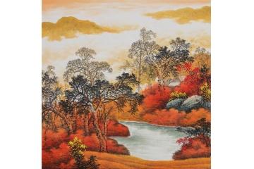客厅餐厅风景画 王宁斗方山水画作品《秋韵》