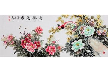 牡丹圖家居掛畫首選 石開寫意花鳥畫《富貴迎春》