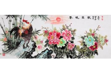 国礼书画家石开富贵牡丹图《春晓高歌》