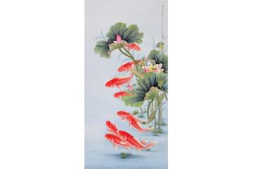 经典玄关挂画 王一容荷花鲤鱼图《连年有余》