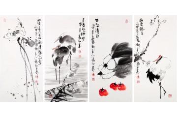 杨成功写意花鸟画四条屏《梅妻鹤子》