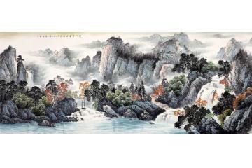 老板办公室背后挂画 王宁山水画作品《江山万里》