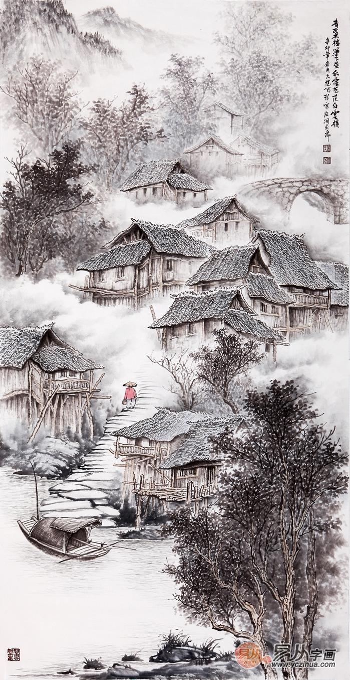 吴大恺四尺竖幅山水画作品《青瓦木楼笔下生》-吴大恺的山水画如何