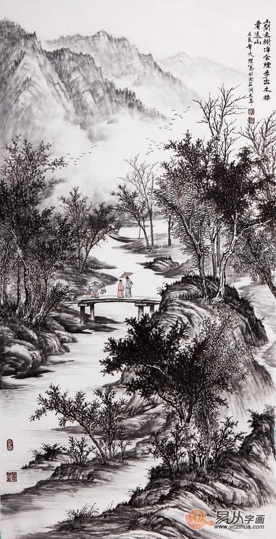 吴大恺四尺竖幅山水画作品《山间老树静含烟》展售位置:易从网图片