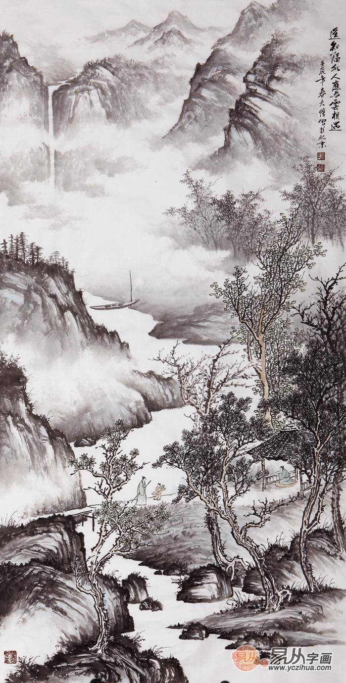 名家写意竖幅山水画-书画艺术品收藏,简析近代与现代书画的优缺点