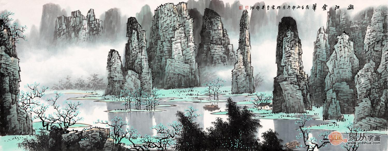 李林宏最新力作山水画作品《漓江叠翠》