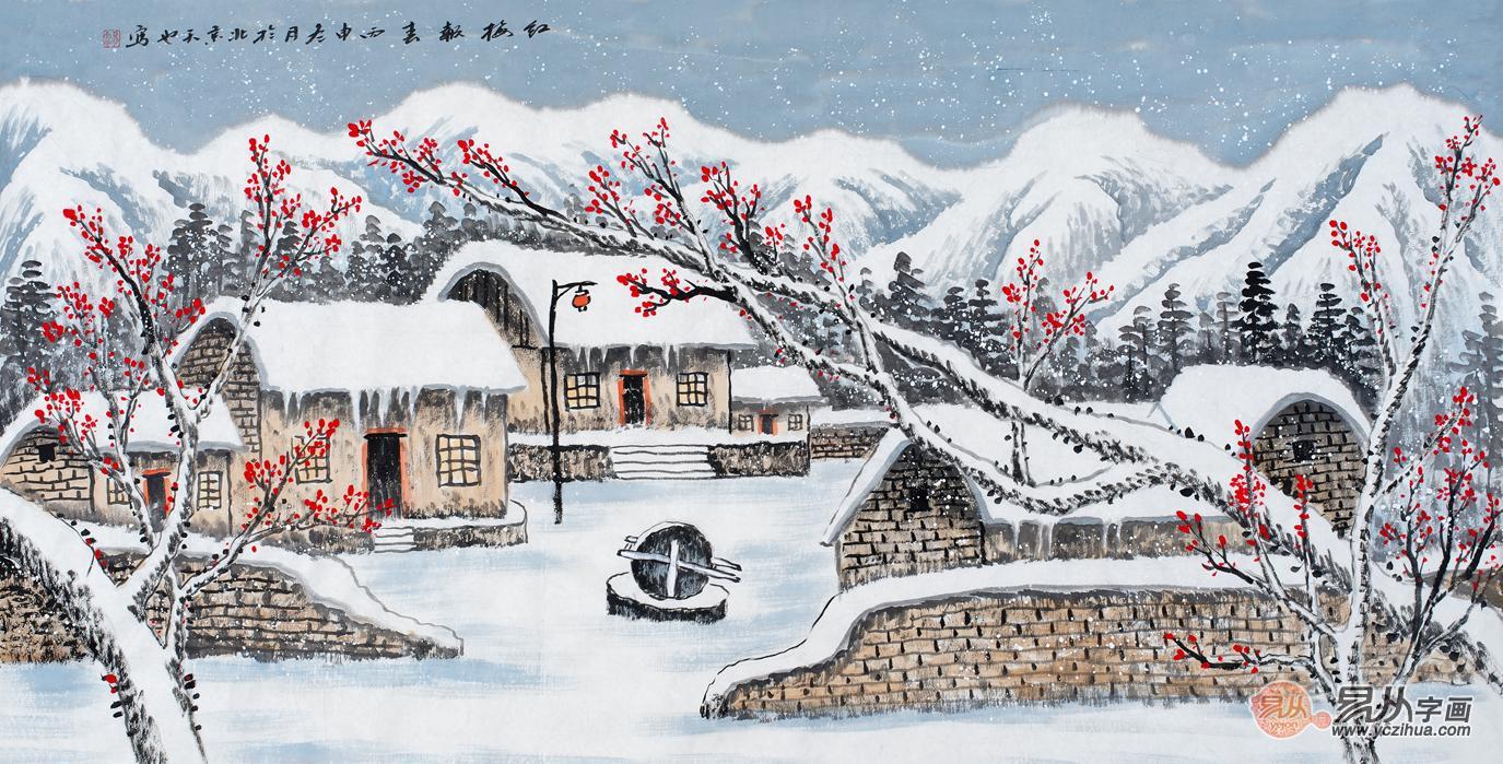 易天也《雪景报春》,小学山水画,客厅图,雪景山红梅第六敦化市图片