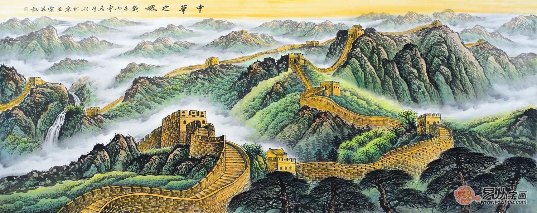 王宁最新青绿国画长城作品《中华之魂》