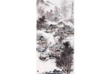 吴大恺四尺竖幅山水画作品《青瓦木楼笔下生》
