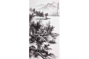 吴大恺四尺竖幅山水画作品《秋空山霁含烟雨》