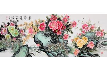 石开精品佳作写意牡丹图《富贵迎春繁花似锦》