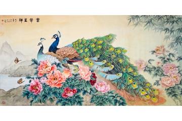 国画大师王一容精品孔雀牡丹图《富贵呈祥》