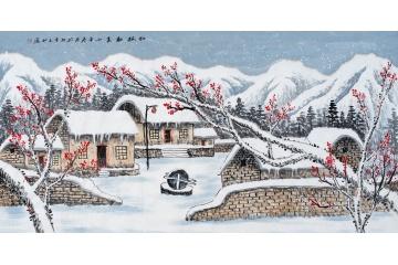 雪景山水画 易天也最新力作《红梅报春》图片