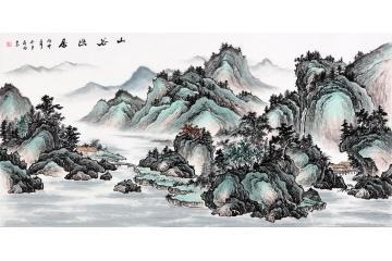 家居裝飾畫 蔣偉橫幅寫意山水畫佳作《山谷幽居》