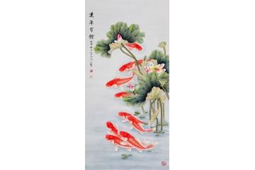 荷花鲤鱼图 王一容工笔画九鱼图《连年有余》