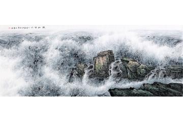 國畫大海 王寧中國畫大海作品《海納百川》