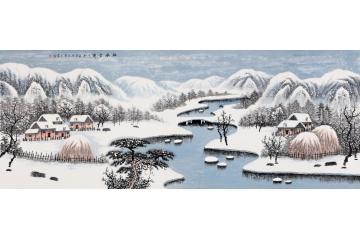 雪景山水画 王宁新作国画作品《林海雪雾》