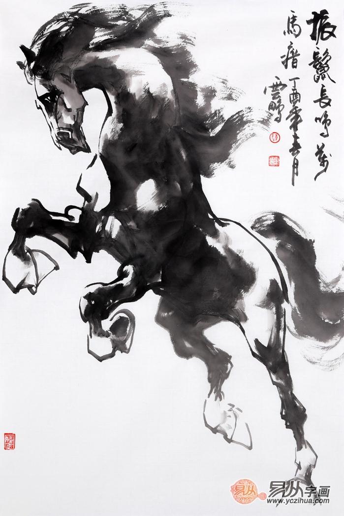 客厅挂画 陈云鹏四尺三裁写意动物画骏马图作品《振鬓长鸣万马瘖》