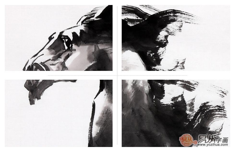 客厅装饰画 陈云鹏四尺三裁写意动物画骏马作品《龙马