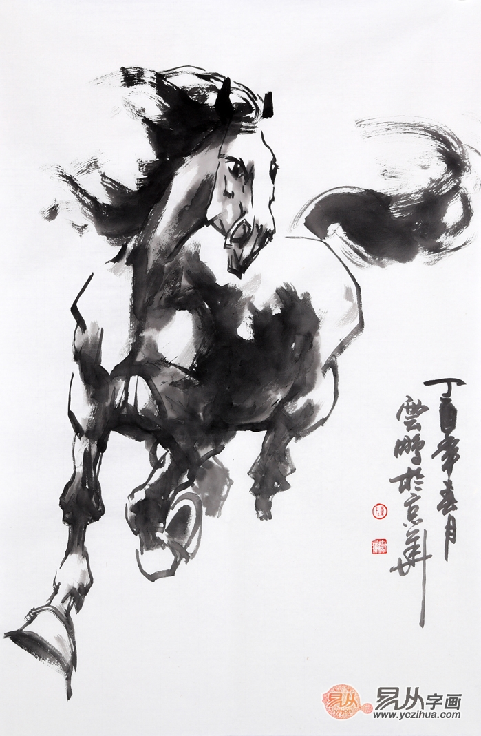 国画马 陈云鹏四尺三裁动物画骏马图作品《穷款》
