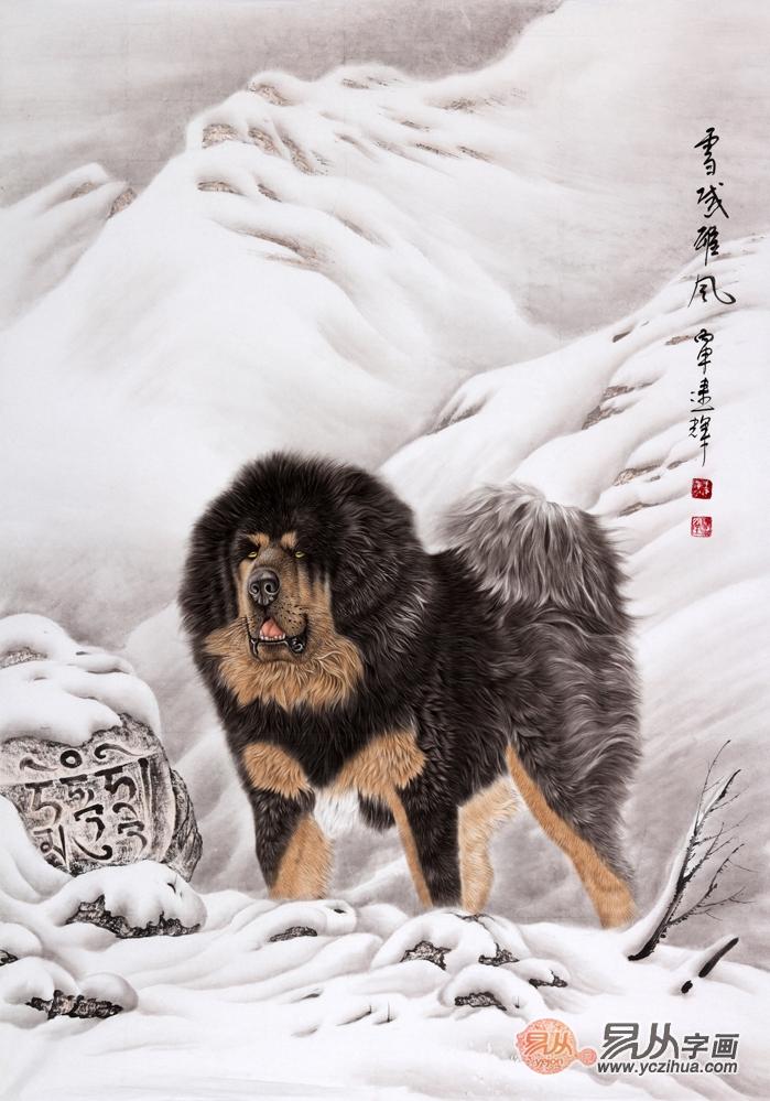王建辉四尺竖幅工笔动物画作品 藏獒《雪域雄风》
