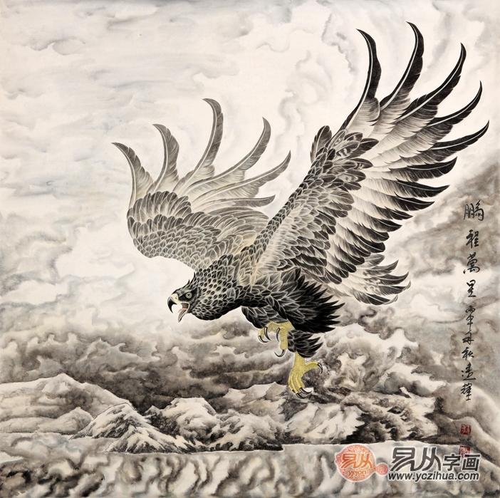 王建辉动物画作品欣赏二: 鹰,在我们中国民族的文化中的形象,最早的