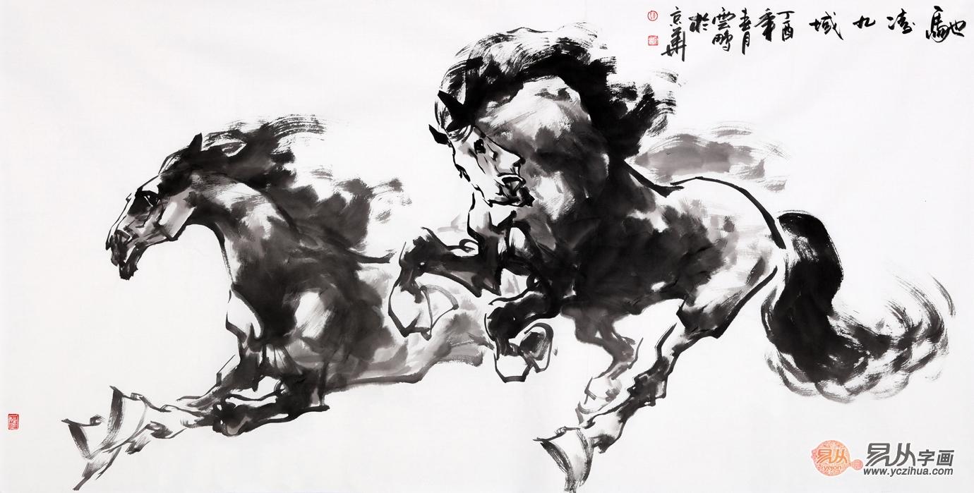 陈云鹏骏马图作品欣赏二, 陈云鹏老师的这幅写意动物画双骏图作品