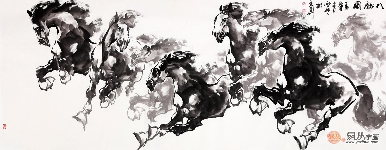 骏马图 陈云鹏写意动物画作品《八骏图》