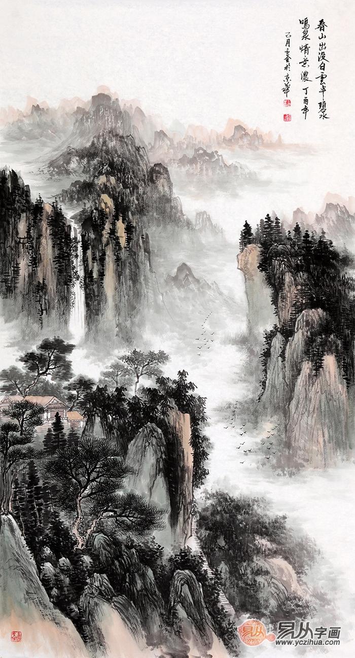 这幅六尺竖幅的山水画体现了山水景观的宏大辽远,整幅画采用了俯视的图片