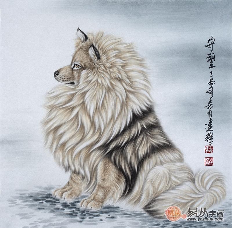 工笔画名家新品佳作 王建辉斗方工笔动物画《守望》