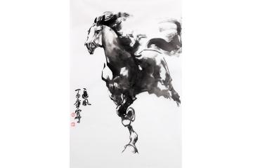 国画马 陈云鹏四尺三裁写意动物画骏马图《追风》