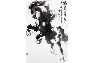 客厅挂画 陈云鹏四尺三裁写意动物画骏马图作品《振鬓长.