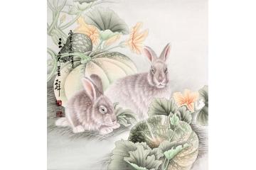 大师级传神佳作 王建辉斗方工笔动物画《玉兔呈祥》