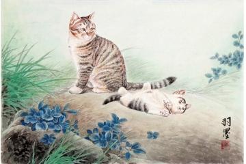 餐厅挂画 客厅装饰画 羽墨斗方工笔动物画 猫《穷款》