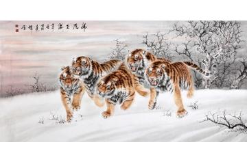 工笔画老虎 中国虎王新秀王建辉八尺横幅工笔老虎精品《.